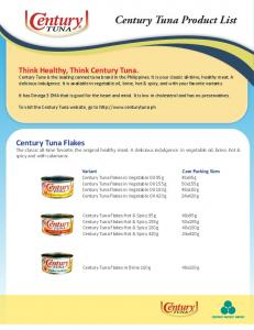 Century Tuna Product List