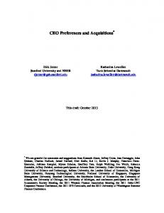 CEO Preferences and Acquisitions *