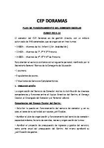 CEP DORAMAS PLAN DE FUNCIONAMIENTO DEL COMEDOR ESCOLAR CURSO