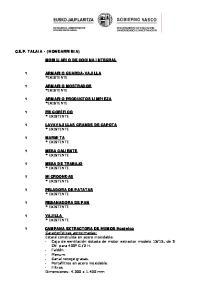 C.E.P. TALAIA - (HONDARRIBIA) MOBILIARIO DE COCINA INTEGRAL 1 ARMARIO GUARDA-VAJILLA *EXISTENTE 1 ARMARIO MOSTRADOR *EXISTENTE