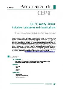 CEPII Country Profiles: indicators, databases and classifications