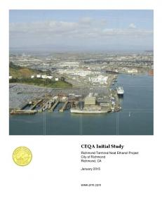 CEQA Initial Study. Richmond Terminal Neat Ethanol Project City of Richmond Richmond, CA. January