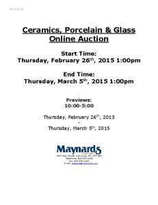 Ceramics, Porcelain & Glass Online Auction