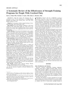 CEREBRAL PALSY (CP) IS A CHRONIC neurologic
