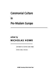 Ceremonial Culture in Pre-Modern Europe