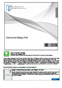 Cermonial Magic Pdf Download or Read Online ebook cermonial magic pdf in PDF Format From The Best User Guide Database