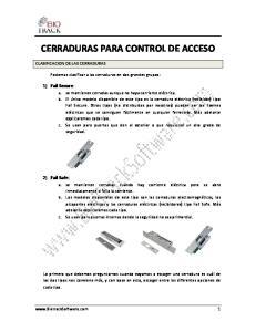 CERRADURAS PARA CONTROL DE ACCESO