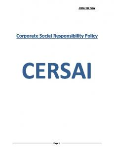 CERSAI CSR Policy. Corporate Social Responsibility Policy CERSAI. Page 1