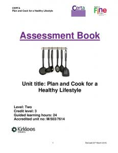 CERTA Plan and Cook for a Healthy Lifestyle