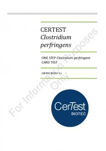 CERTEST. For Information Purposes. Clostridium perfringens. ONE STEP Clostridium perfringens CARD TEST. Only CERTEST BIOTEC S.L