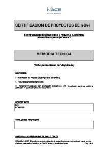 CERTIFICACION DE PROYECTOS DE I+D+i MEMORIA TECNICA