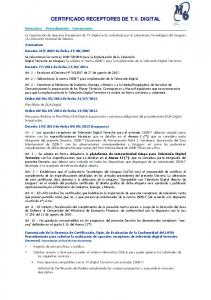 CERTIFICADO RECEPTORES DE T.V. DIGITAL