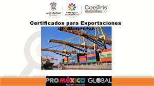 Certificados para Exportaciones de Alimentos
