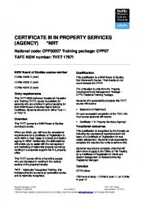 CERTIFICATE III IN PROPERTY SERVICES (AGENCY) *NRT