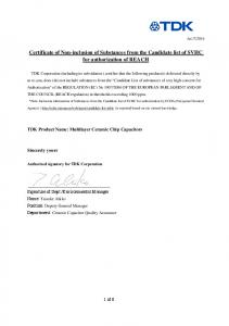 Certificate of Non-inclusion of Substances from the Candidate list of SVHC for authorization of REACH