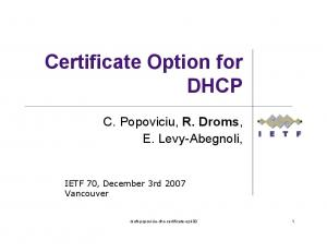 Certificate Option for DHCP