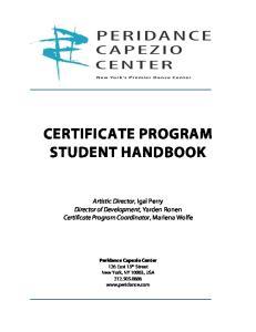 CERTIFICATE PROGRAM STUDENT HANDBOOK