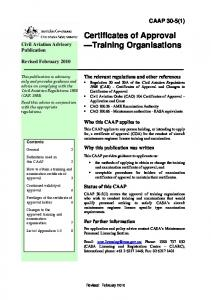 Certificates of Approval Training Organisations
