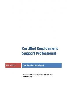 Certified Employment Support Professional Certification Handbook. Employment Support Professional Certification