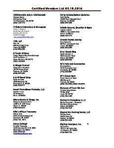Certified Vendors List