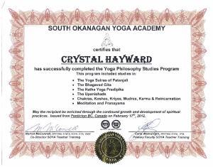 certifies that CRYSTAL HAYWARD
