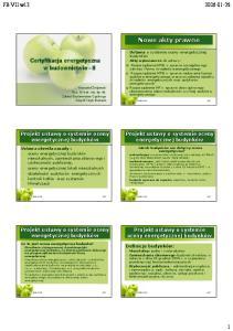 Certyfikacja energetyczna w budownictwie - II