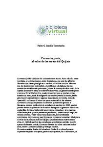 Cervantes poeta; el valor de los versos del Quijote