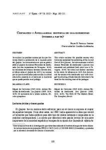 CERVANTES Y AVELLANEDA: HISTORIA DE UNA ENEMISTAD (PRIMERA PARTE) 1