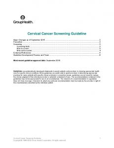 Cervical Cancer Screening Guideline