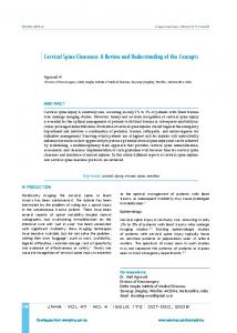 Cervical Spine Clearance: A Review and Understanding of the Concepts