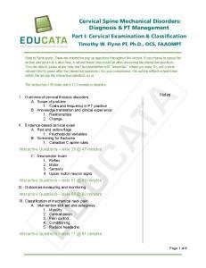 Cervical Spine Mechanical Disorders: Diagnosis & PT Management