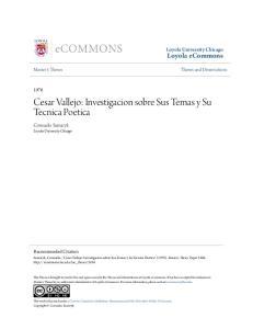 Cesar Vallejo: Investigacion sobre Sus Temas y Su Tecnica Poetica