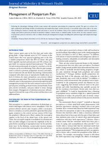 CEU. Management of Postpartum Pain Ladan Eshkevari, CRNA, PhD, LAc, Kimberly K. Trout, CNM, PhD, Jennifer Damore, RN, BSN