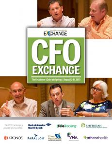 CFO EXCHANGE The Broadmoor Colorado Springs August 12 14, 2015