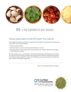 CFS a key ingredient to your success