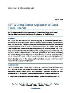 CFTC Cross-Border Application of Dodd- Frank Title VII