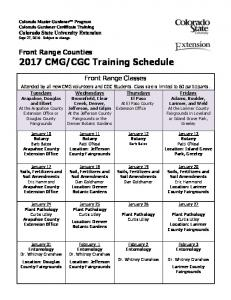 CGC Training Schedule