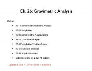 Ch. 26: Gravimetric Analysis