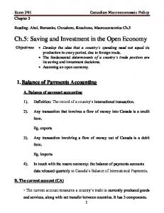 Ch.5: Saving and Investment in the Open Economy