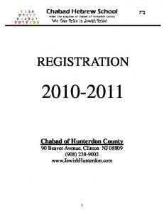 Chabad Hebrew School. Under the auspices of Chabad of Hunterdon County We Take Pride In Jewish Pride! REGISTRATION