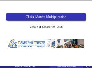 Chain Matrix Multiplication