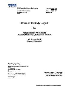 Chain of Custody Report