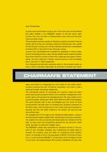 CHAIRMAN S STATEMENT