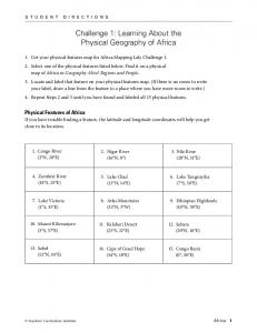 Challenge 1: Learning About the Physical Geography of Africa