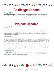 Challenge Updates. Project: Updates