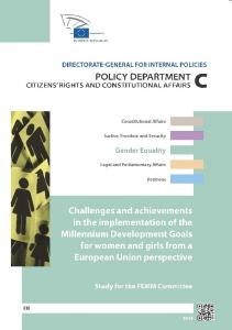 Challenges and achievements in the implementation of the Millennium. Development Goals for women and girls from a European Union perspective