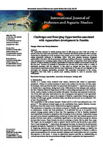 Challenges and Emerging Opportunities associated with Aquaculture development in Zambia