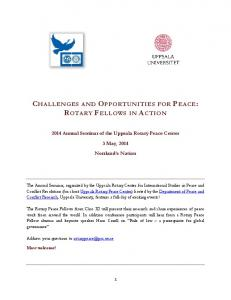 CHALLENGES AND OPPORTUNITIES FOR PEACE: ROTARY FELLOWS IN ACTION