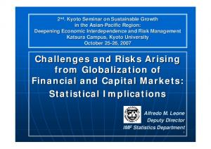 Challenges and Risks Arising from Globalization of Financial and Capital Markets: Statistical Implications