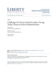 Challenges for Novice School Leaders: Facing Today s Issues in School Administration